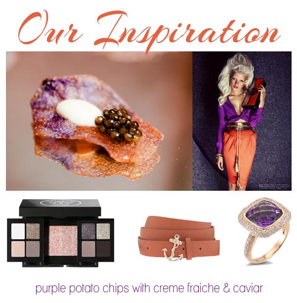 Purple potato chips with caviar